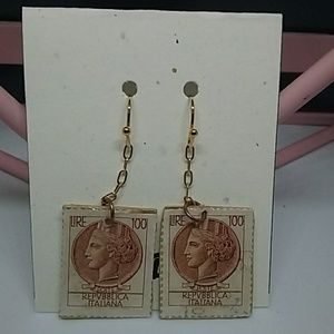Lira postage stamp earrings